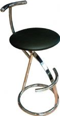 Dena Chrome Stool with Upholstered Seat & Back with Footrail